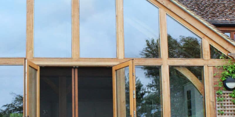 Oak framed colour matched fly screens for doors