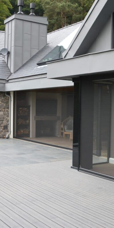 Large remote controlled power screens at property in wales